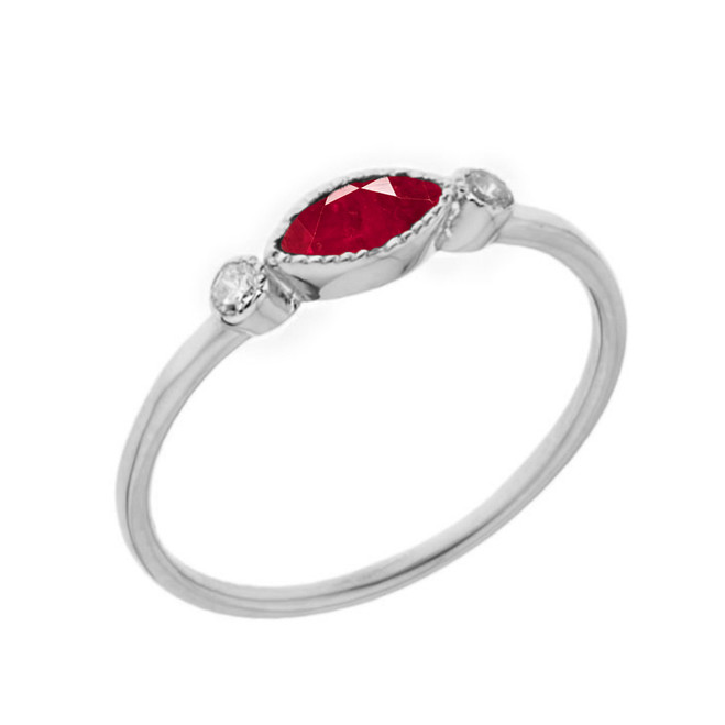 Dainty Lab Created Ruby and White Topaz Ring in White Gold