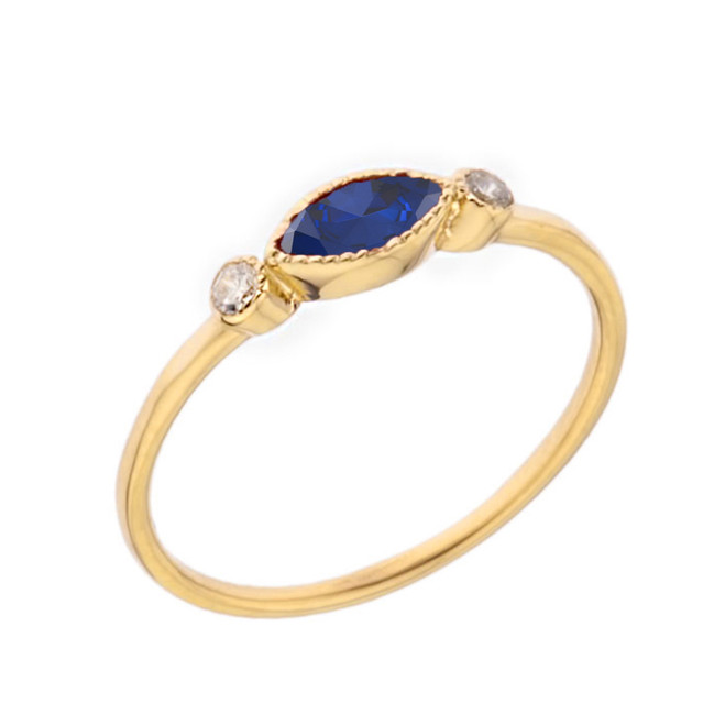 Dainty Lab Created Sapphire and White Topaz Ring in Yellow Gold