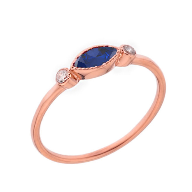 Dainty Lab Created Sapphire and White Topaz Ring in Rose Gold