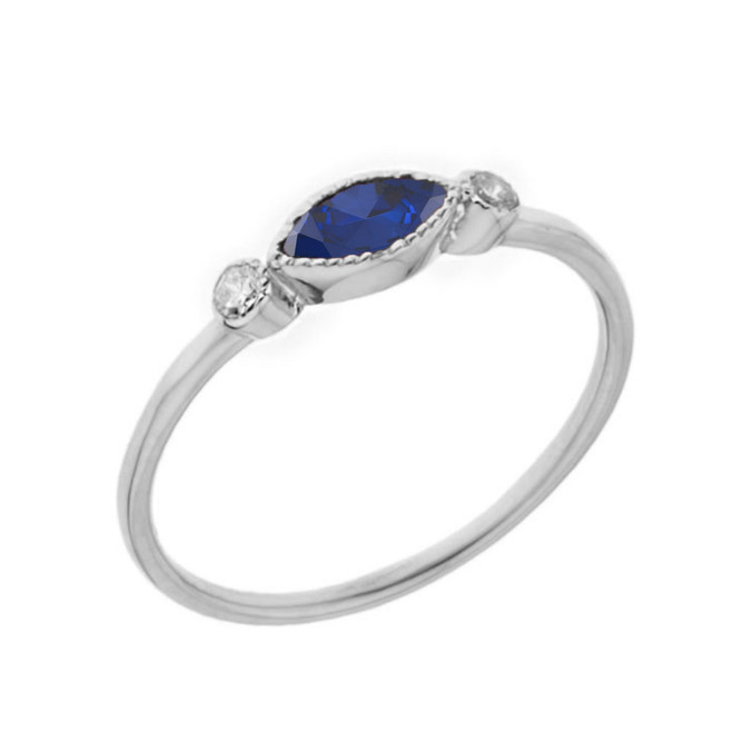 Dainty Lab Created Sapphire and White Topaz Ring in White Gold