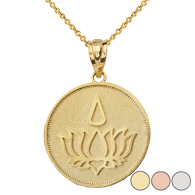 Lotus Flower Blossom with Teardrop Disc Pendant Necklace in Solid Gold (Yellow/Rose/White)