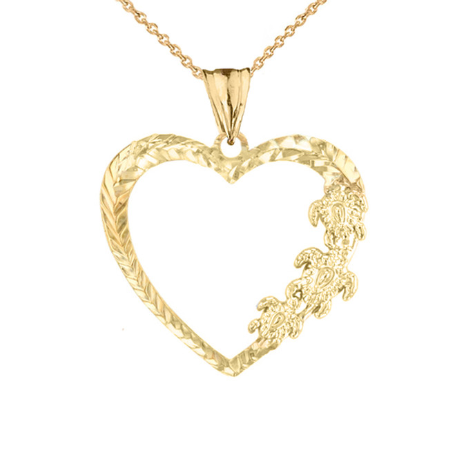 Hawaiian Honu Turtles  Heart Pendant Necklace in Yellow Gold