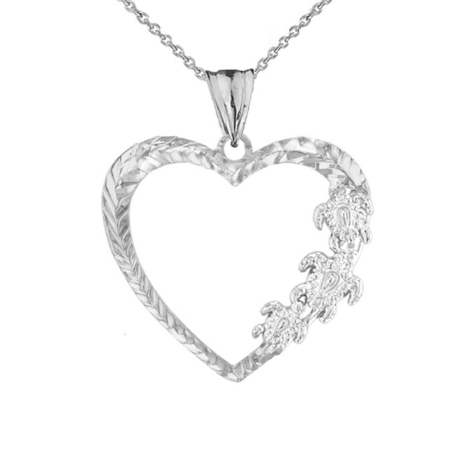 Hawaiian Honu Turtles  Heart Pendant Necklace in White Gold