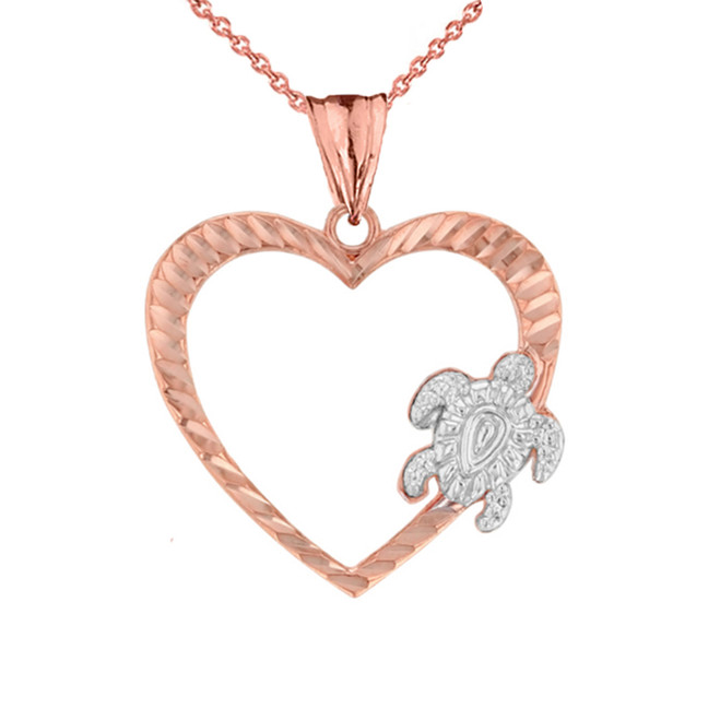 Honu Hawaiian Turtle  Heart Pendant Necklace in Two-Tone Rose Gold