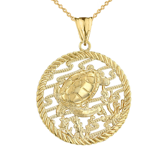 Honu Sea Turtle On Seashore in Rope Pendant Necklace in Yellow Gold