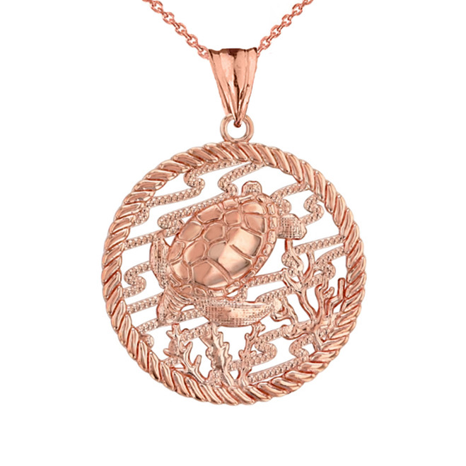 Honu Sea Turtle On Seashore in Rope Pendant Necklace in Rose Gold