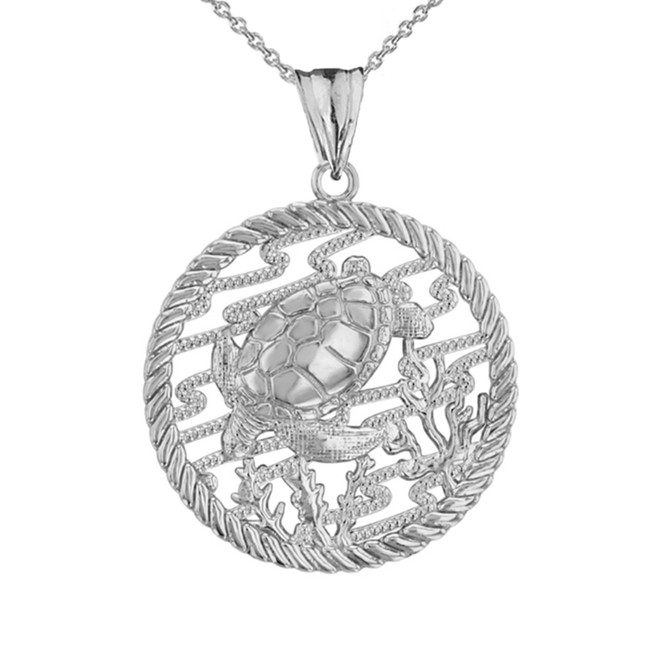 Honu Sea Turtle On Seashore in Rope Pendant Necklace in White Gold