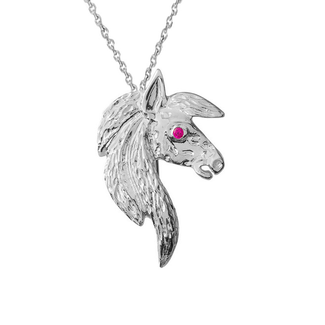 Exquisite Ruby Eyed Horse Pendant Necklace in White Gold