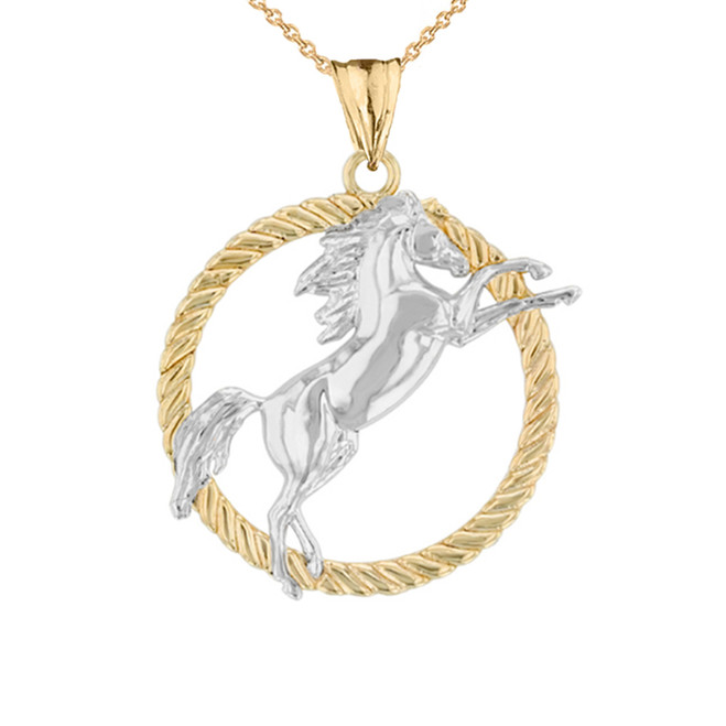 Stallion Horse Rope Pendant Necklace in Two Tone Yellow Gold