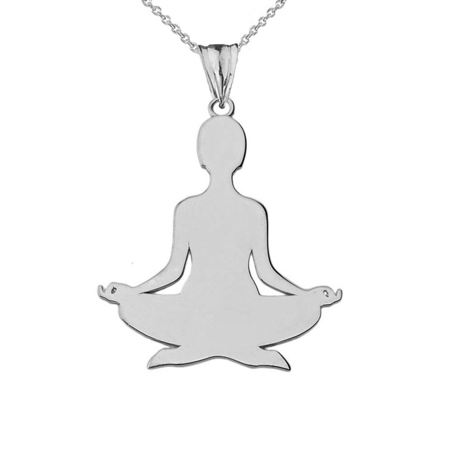 Meditating Silhouette Yogi Pendant Necklace in Sterling Silver