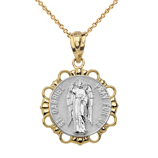 Solid Two Tone Yellow Gold Round Saint Gabriel Pendant Necklace