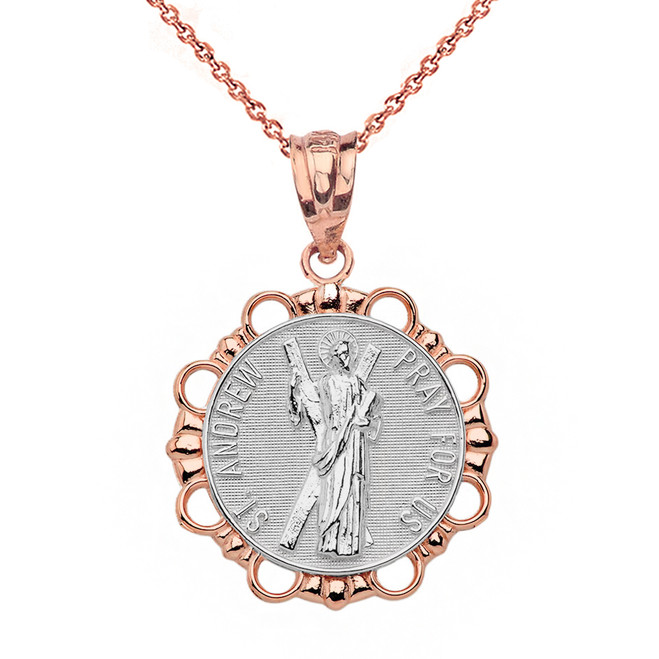 Solid Two Tone Rose Gold Round Saint Andrew Pendant Necklace