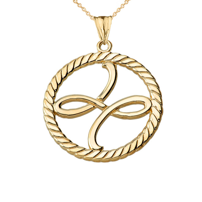 Friendship Symbol in Rope Pendant Necklace in Yellow Gold