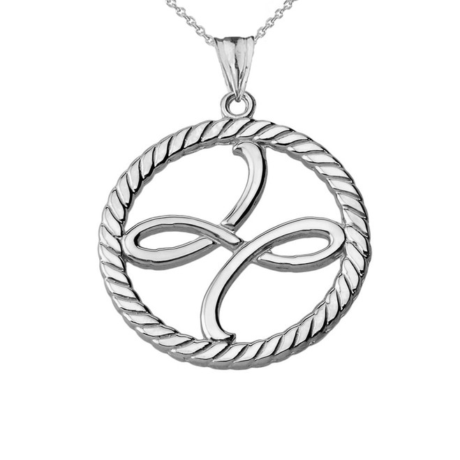 Friendship Symbol in Rope Pendant Necklace in Sterling Silver
