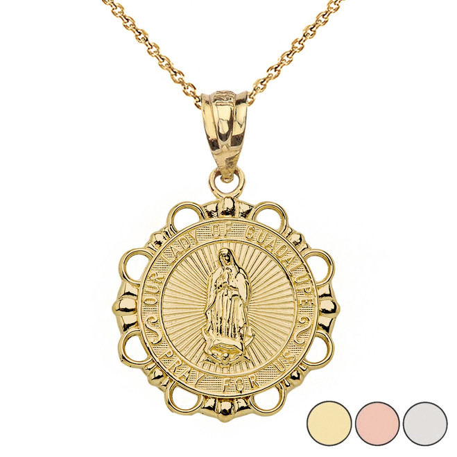 Round Our Lady Of Guadalupe Pendant Necklace in Gold (Yellow/Rose/White)