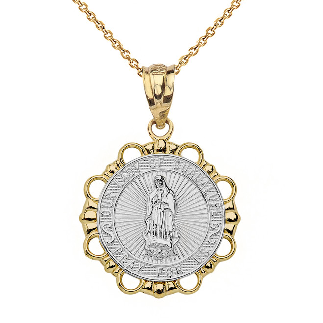 Solid Two Tone Yellow Gold Round Our Lady Of Guadalupe Pendant Necklace