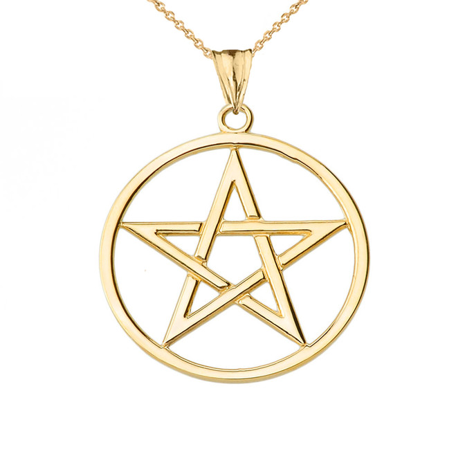 Pentagram Pendant Necklace in Yellow Gold