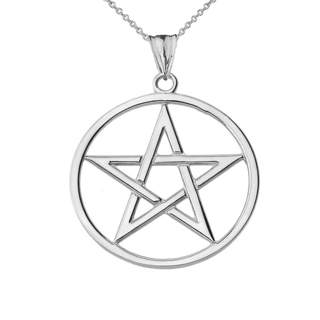 Pentagram Pendant Necklace in White Gold