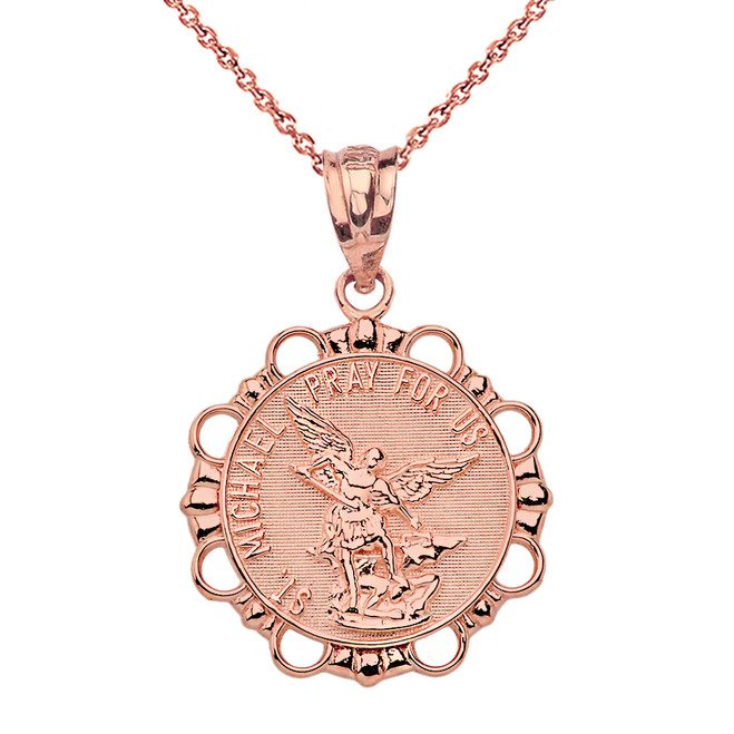Solid Rose Gold Round Saint Michael Pendant Necklace