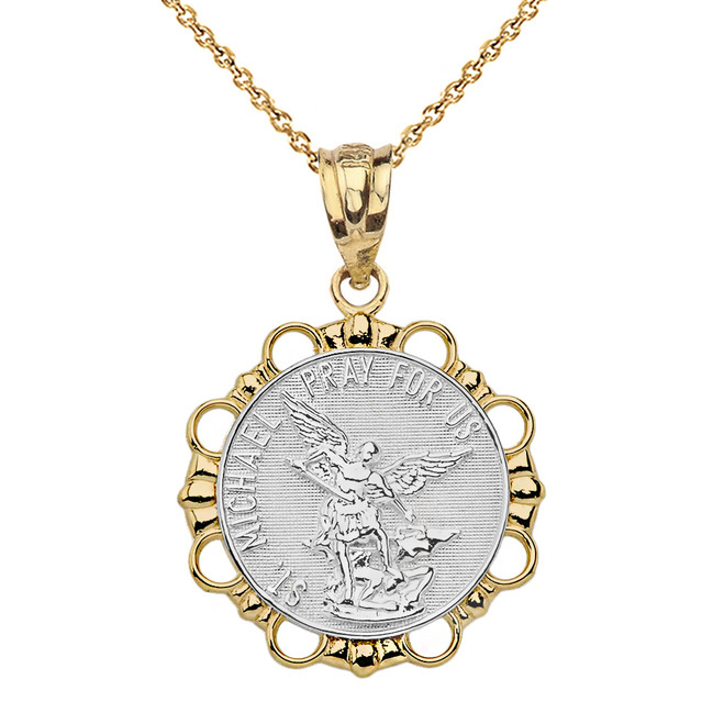 Solid Two Tone Yellow Gold Round Saint Michael Pendant Necklace