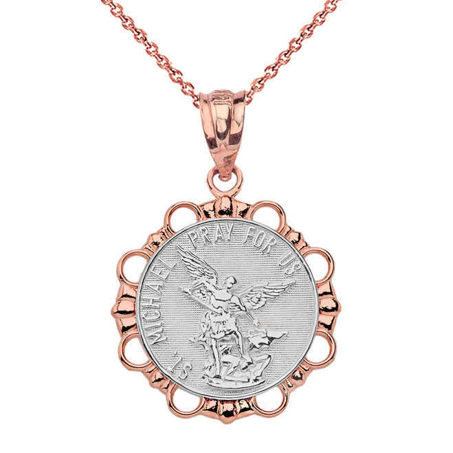 Solid Two Tone Rose Gold Round Saint Michael Pendant Necklace