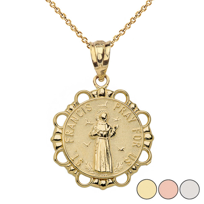 Round Saint Francis Pendant Necklace in Gold (Yellow/Rose/White)