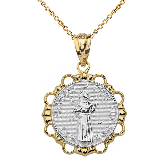 Solid Two Tone Yellow Gold Round Saint Francis Pendant Necklace