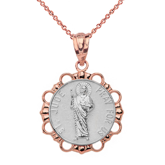 Solid Two Tone Rose Gold Round Saint Jude Pendant Necklace