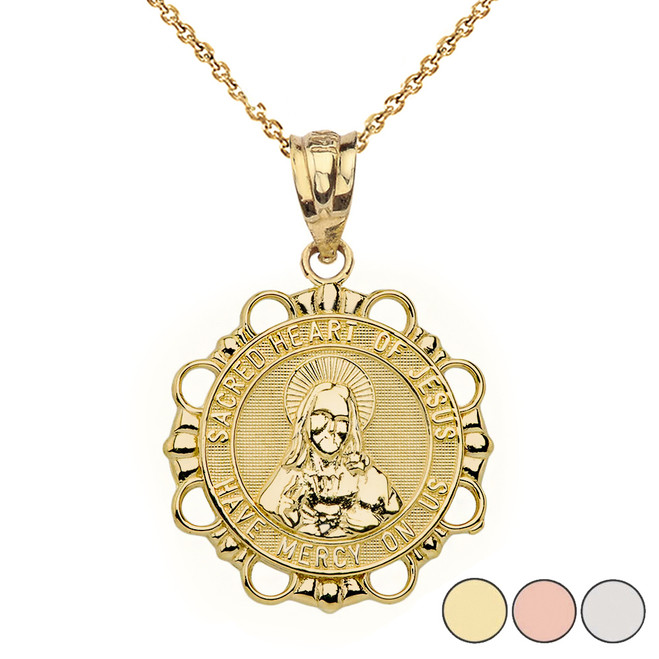 Round Sacred Heart Pendant Necklace in Gold (Yellow/Rose/White)