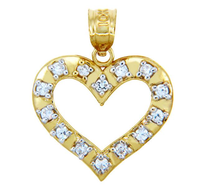 Gold Pendants - Wide Rim Gold Heart Pendant with Cubic Zirconias