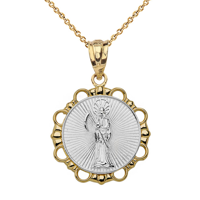 Solid Two Tone Yellow Gold Round Santa Muerte Pendant Necklace