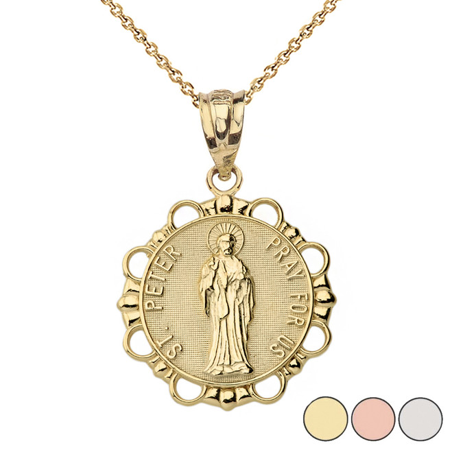 Round Saint Peter Pendant Necklace in Gold (Yellow/Rose/White)