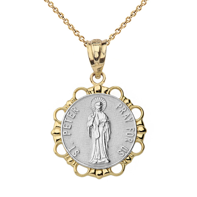 Solid Two Tone Yellow Gold Round Saint Peter Pendant Necklace
