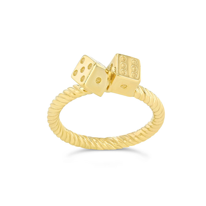 Dice Rope Ring in Yellow Gold