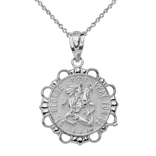 Sterling Silver Round Saint George Pendant Necklace