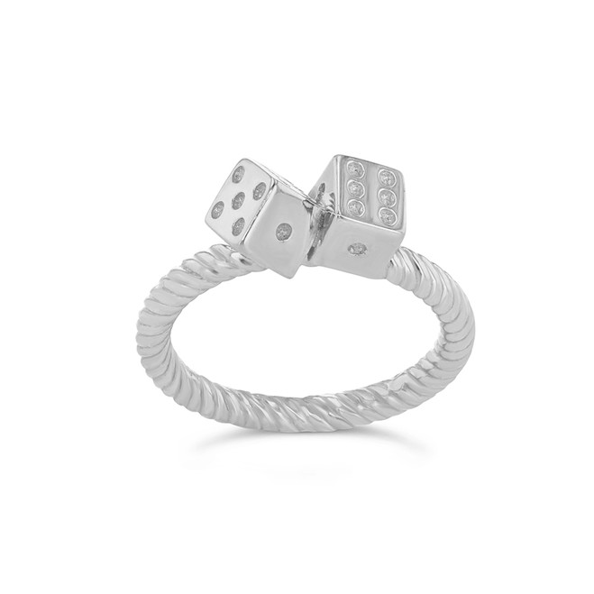 Dice Rope Ring in White Gold