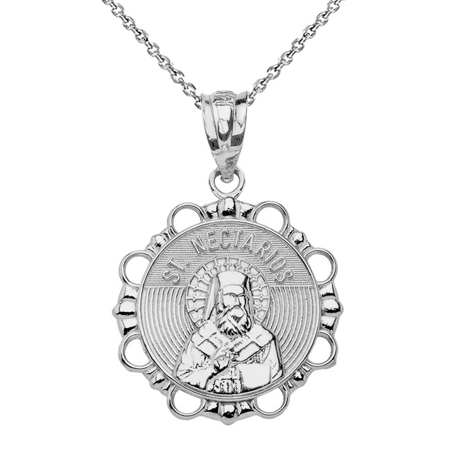 Sterling Silver Round Saint Nectarios Pendant Necklace