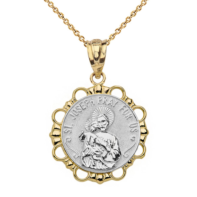 Solid Two Tone Yellow Gold Round Saint Joseph Pendant Necklace