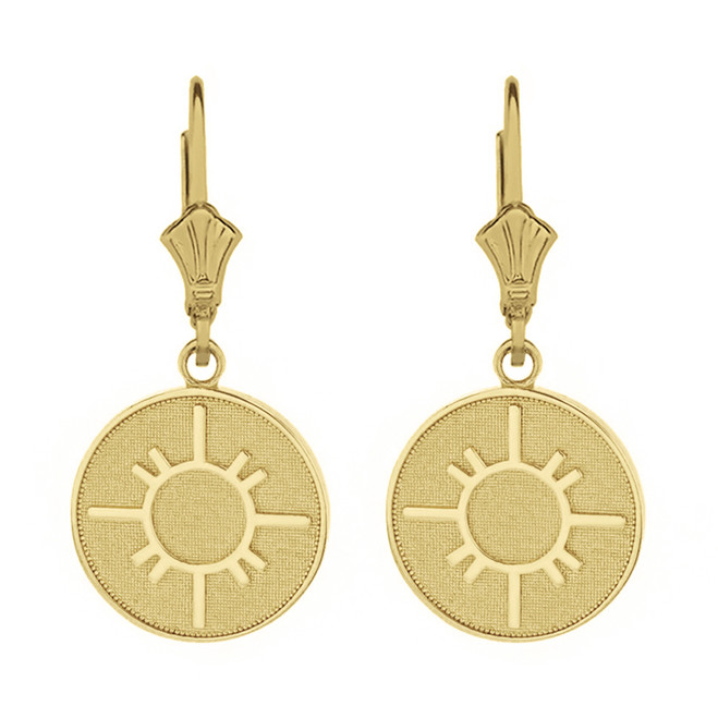 Solid Yellow Gold Native American Geometric Sun Symbol Dainty Disc Earring Set