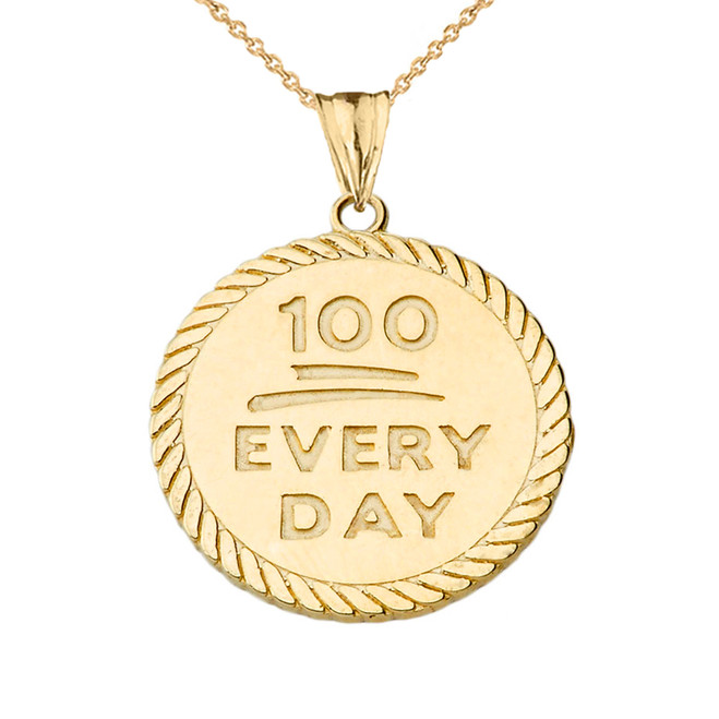 """100 Every Day"" Rope Disc Pendant Necklace in Yellow Gold"