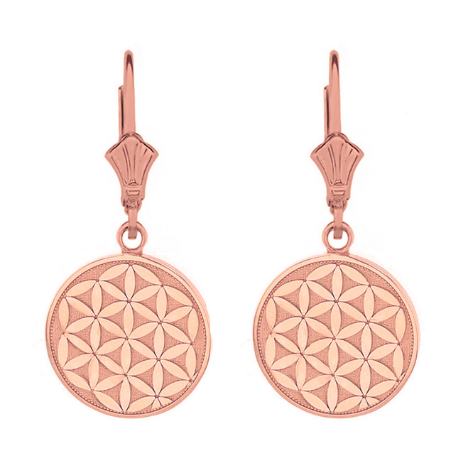 14k Solid Rose Gold Flower of Life Dainty Disc Earring Set