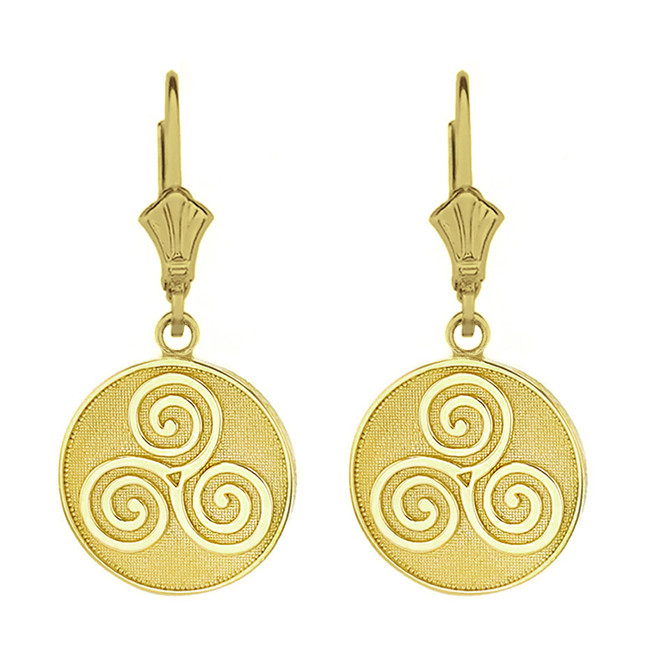 Solid Yellow Gold Celtic Triple Spiral Triskele Irish Knot Disc Earring Set