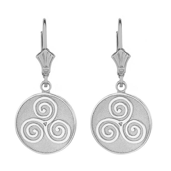 14k Solid White Gold Celtic Triple Spiral Triskele Irish Knot Disc Earring Set