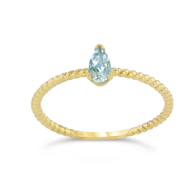 Dainty Genuine Aquamarine Pear Shape Rope Ring in Yellow Gold