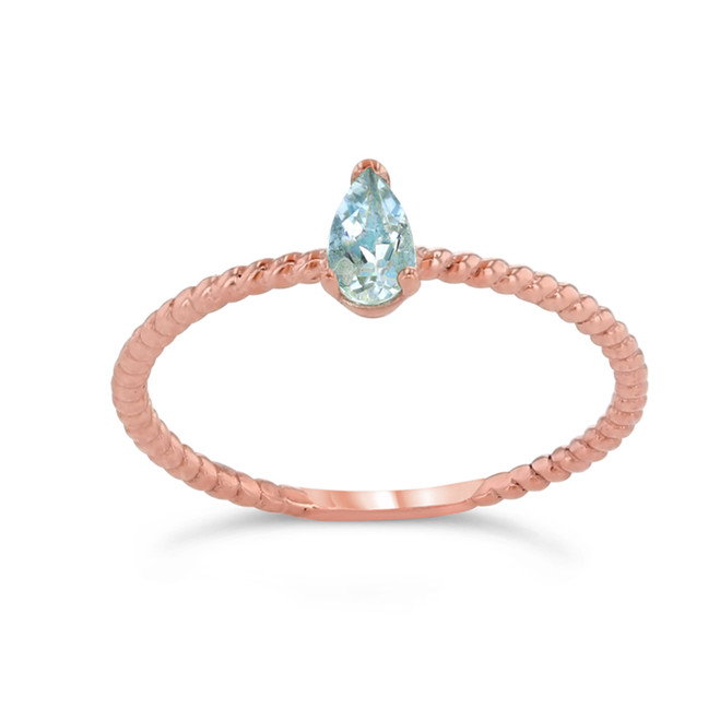 Dainty Genuine Aquamarine Pear Shape Rope Ring in Rose Gold