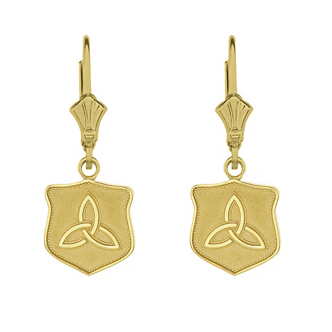 Solid Yellow Gold Trinity Shield Triquetra Celtic Knot Earring Set