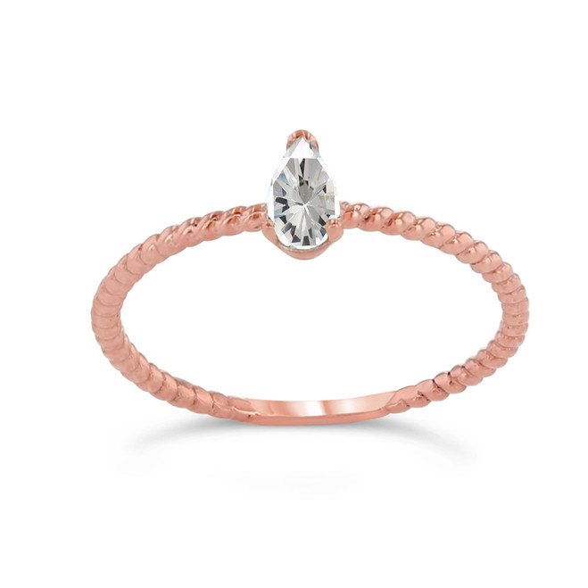 Dainty CZ Pear Shape Rope Ring in Rose Gold