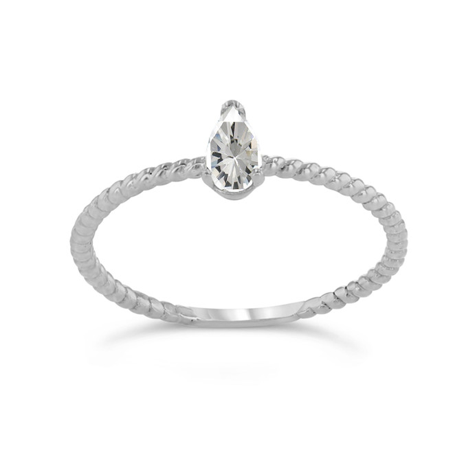 Dainty CZ Pear Shape Rope Ring in White Gold