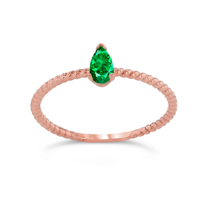 Dainty Genuine Emerald Pear Shape Rope Ring in Rose Gold
