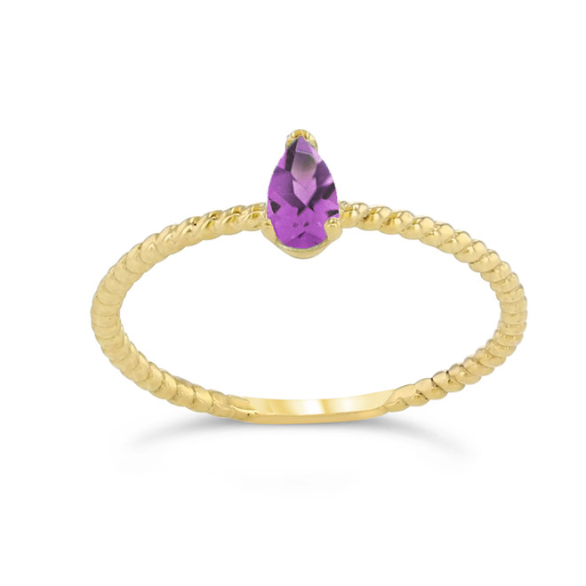 Dainty  (LCAL) Alexandrite Pear Shape Rope Ring in Yellow Gold